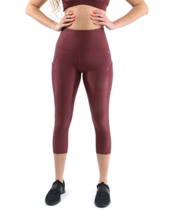 SALE! 50% OFF! Verona Activewear Capri Leggings - Maroon [MADE IN ITALY] - Size Small