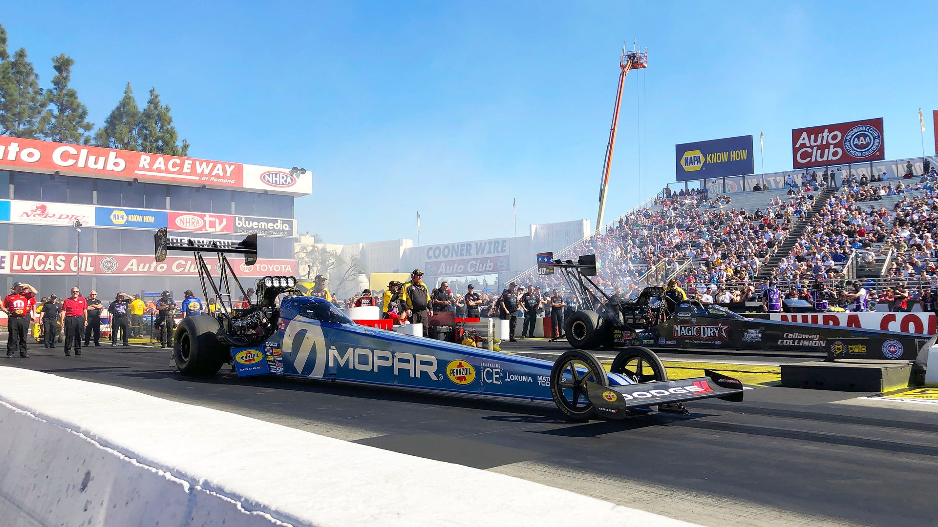 Leah raced to a semifinal finish and improved one spot up to fourth behind the wheel of her MOPAR-powered Top Fuel dragster