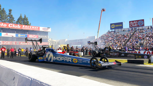 Leah Pritchett raced to a semifinal finish and improved one spot up to fourth behind the wheel of her MOPAR-powered Top Fuel dragster