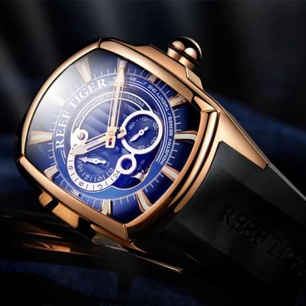 Men's Automatic Watch Gold Blue Rubber Band