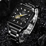 Men's Square Watch Automatic Black Steel