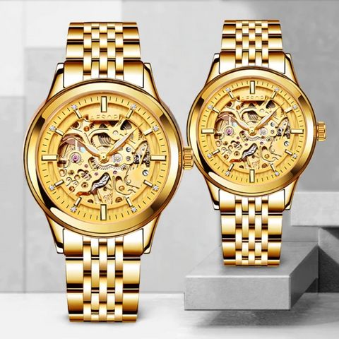 Couples Hallow-Golden Automatic Watch