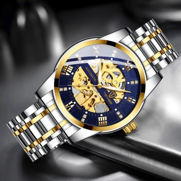 Automatic Skeleton Watch Steel Gold Blue