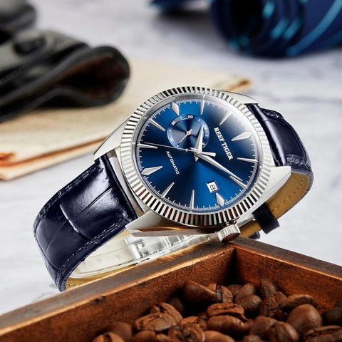 Men's Self-Winding Mechanical Watch Silver Blue Band