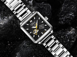 Men's Square Watch Automatic Silver Steel