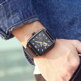 Man Wearing Square Watch Metal Black