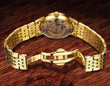 Men's Gold Skeleton Watch Clasp Rear View