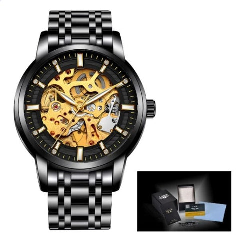 Men's Skeleton Watch Black and Gold