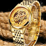 Gold Men's Watch Automatic Movement Skeleton Design
