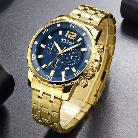 Men's Gold Quartz Watch Blue  Face Steel Band