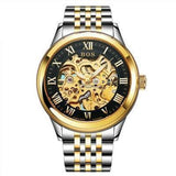 Men's Watch Automatic Movement Skeleton Design Gold Black Steel