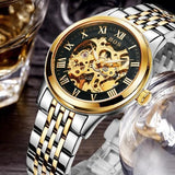 Men's Watch Automatic Movement Skeleton Design Gold Black