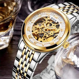 Men's Watch Automatic Movement Skeleton Design Gold White