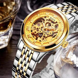 Men's Watch Automatic Movement Skeleton Design Gold Steel