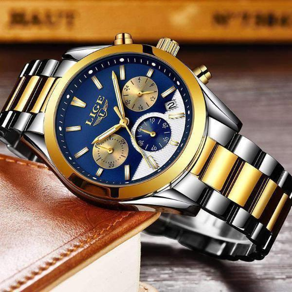 Quartz Men's Watch Gold Blue Steel
