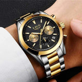 Wearing Men's Watch Gold Black Steel