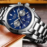 Quartz Men's Watch Silver Blue Steel