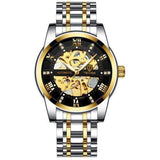 Automatic Skeleton Watch Steel Gold Black