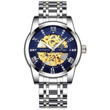 Automatic Skeleton Watch Steel Blue