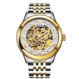 Men's Watch Automatic Movement Skeleton Design Gold White Steel