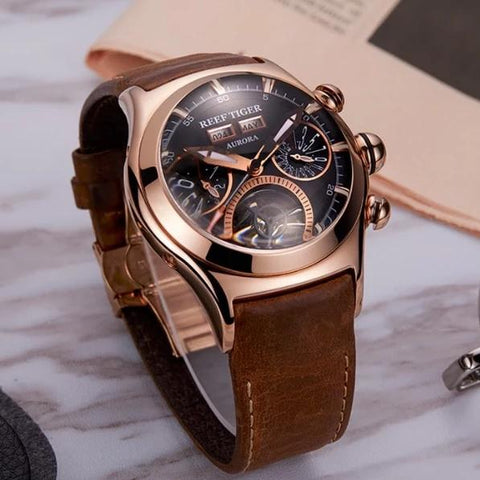 Men's Automatic Watch Gold Black Tan Leather Band