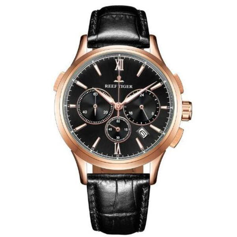 Quartz Black Leather Watch Gold