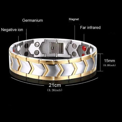 Men's Magnetic Stainless Steel Bracelet - Silver and Gold