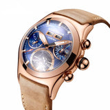 Men's Automatic Watch Gold Blue Tan Leather Band