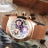 Men's Quartz Wristwatch Gold Tan Leather