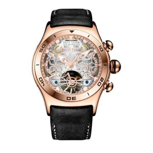 Men's Automatic Watch Rose Gold Face Leather Strap