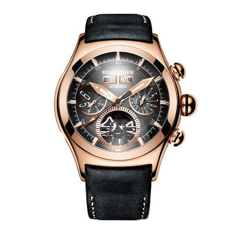 Men's Automatic Watch Gold Black Leather Band