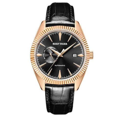 Men's Mechanical Self-Winding Watch Gold Black Band