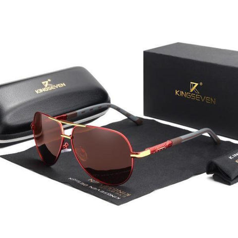 Men's Aviator Sunglasses Polarised Dark Red