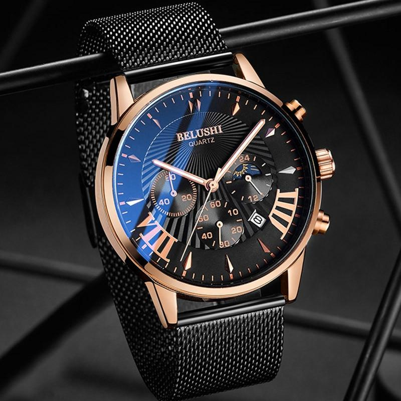 Men's Quartz Mesh Band Watch Gold Black