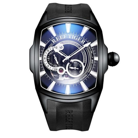 Men's Automatic Watch Black Blue Rubber Band