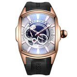 Men's Automatic Watch Gold White Rubber Band