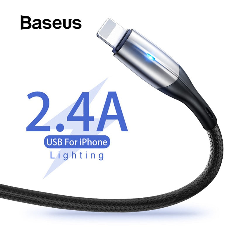 Baseus 2.4A Fast Charging iPhone Lightning Cable - Metalic / LED - Materiol