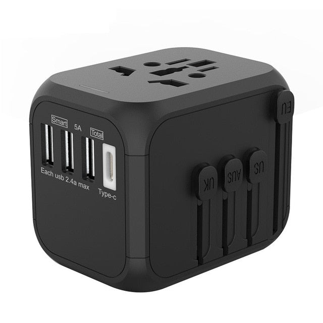Universal Travel Adapter with 3 USB for UK/EU/AU/Asia