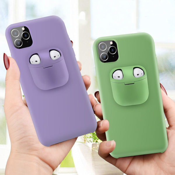 2 in 1 Silicon AirPods 1/2 iPhone Case - Materiol