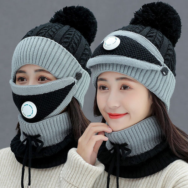 Knitted Scarf Mask Hat - Materiol