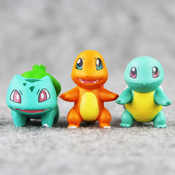 3pcs/set 2~3cm Mini Charmander Bulbasaur Squirtle