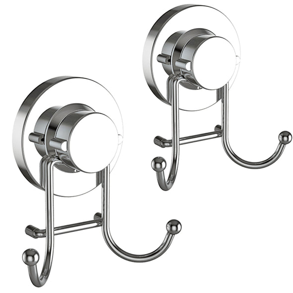 Double Hooks with Suction Cup (Chrome)