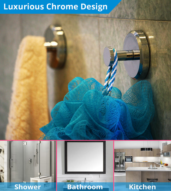 Towel Hooks with Suction Cup (Chrome)