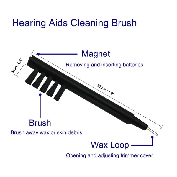 Hearing Aid Cleaning Brush with Wax Loop and Magnet (pack of 4) - Neosonic Hearing Amplifiers