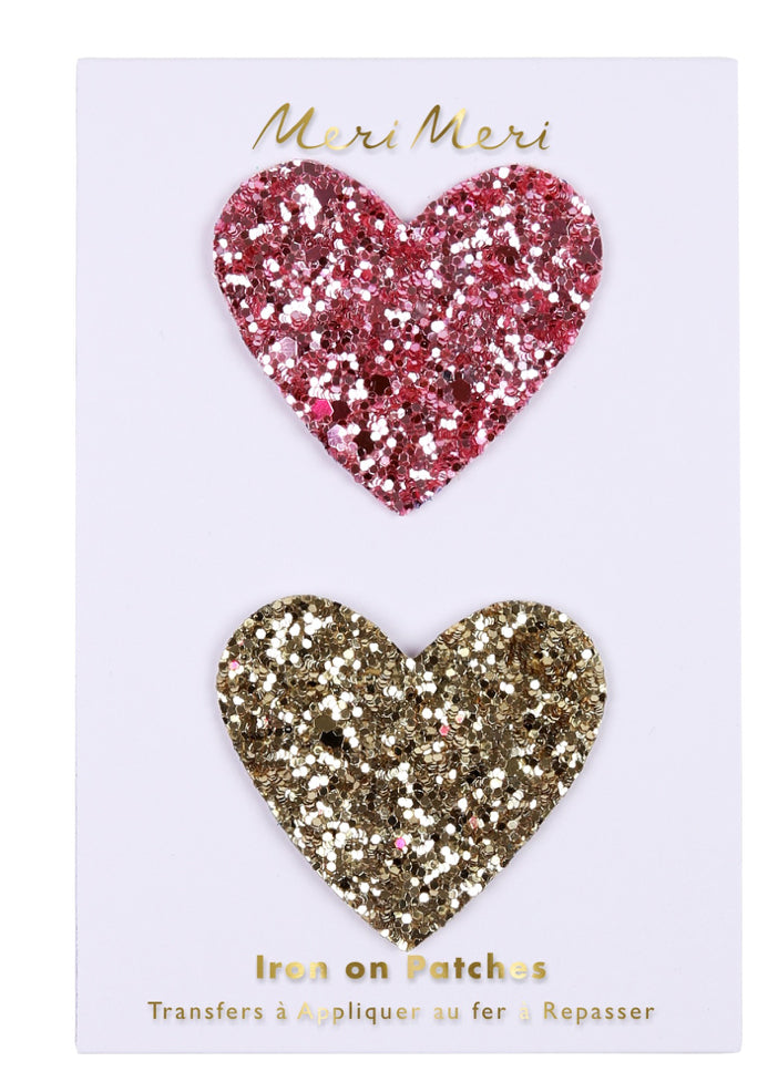 Meri Meri Glitter Heart Iron On Patches