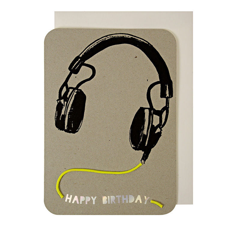 Meri Meri Headphones With Neon Cord Card