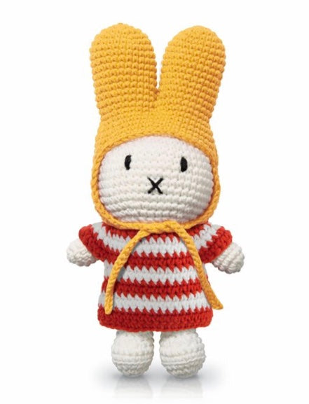 Miffy Crochet In A Red Striped Dress + Yellow Hat