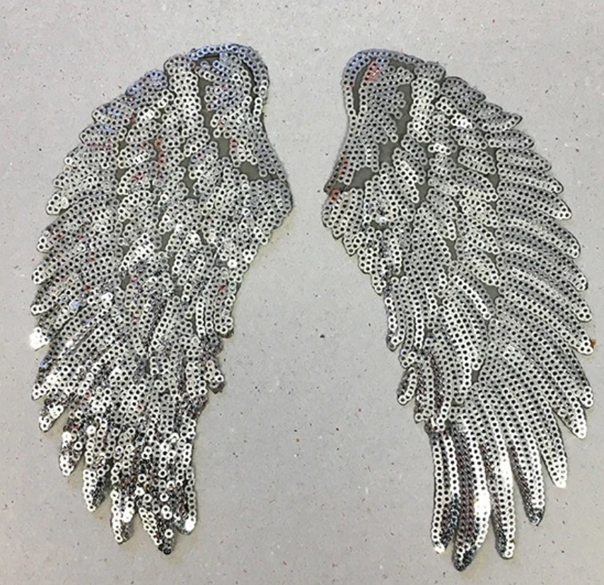 Petra Boase Iron On Patch Set Of 2 Silver Sequin Wings Small