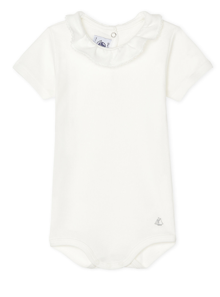 Petit Bateau Short Sleeve Bodysuit With Ruff