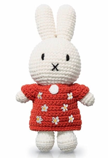 Miffy Crochet In A Red Flower Dress